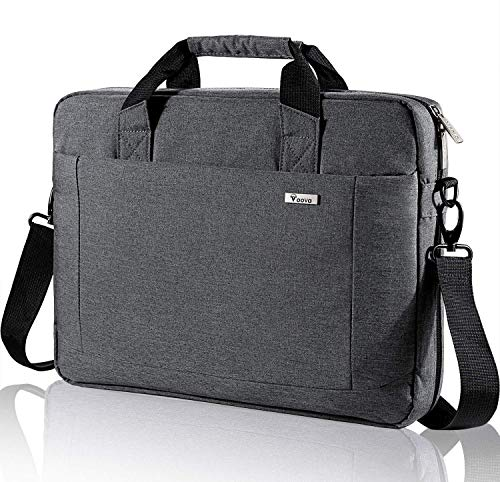 Voova Laptop Bag Case 17 17.3 Inch Computer Sleeve Messenger Bag with Shoulder Strap Expandable Waterproof Business Briefcase with Tablet Pocket for Men Women Travel School Lawyer-Gray