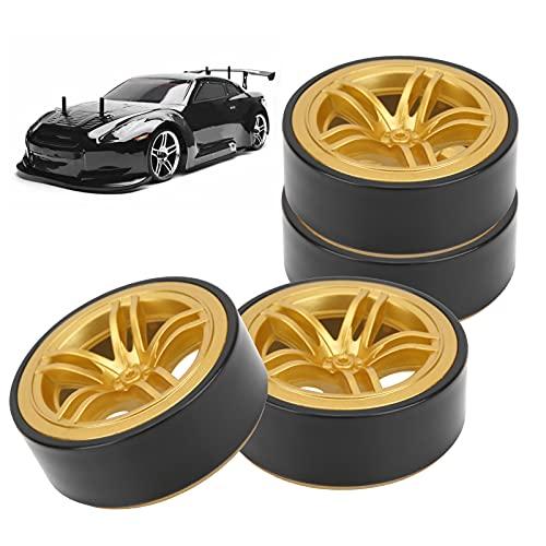Llantas de ruedas RC, más atractivas, larga vida útil, estables, suaves y duraderas, llantas de goma de orugas RC para piezas de actualización de coches RC(Golden)