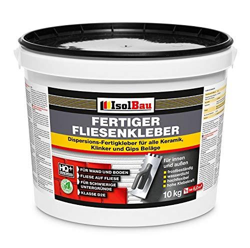 Isolbau Fertig-Fliesenkleber - Dispersionskleber für Fliesen auf Wand & Boden im Innen- & Außenbereich - 10 kg Eimer