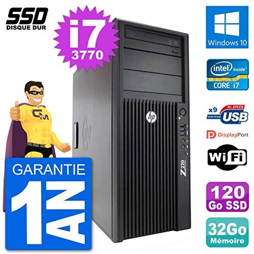 HP PC Tower Z220 Intel Core i7-3770 RAM 32gb SSD 120 GB Windows 10 WiFi (Generalüberholt)