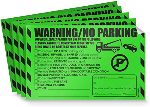 Parking Violation Stickers for Cars (Fluorescent Green) - 50 Illegal Warning Reserved, Handicapped, Private Parking and More/No Parking Hard to Remove and Super Sticky Tow Warnings 8� x 5� by MESS
