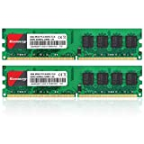 Kuesuny 4GB Kit (2x2GB) DDR2 800mhz UDIMM PC2 6400 6300 DIMM 1.8V CL6 240Pin Dual Rank Non-ECC Unbuffered Desktop RAM Compatible con Intel AMD