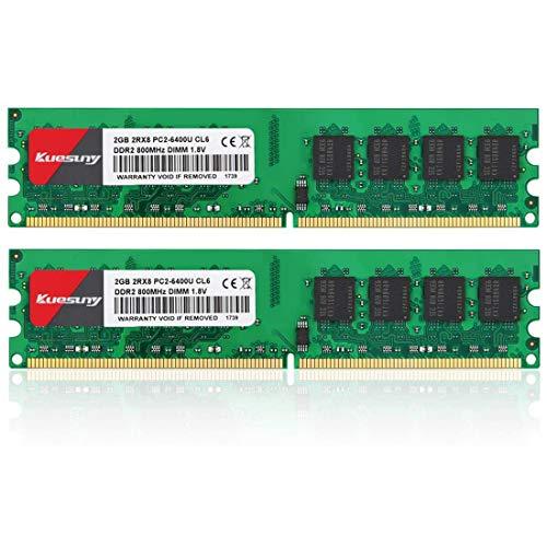 Kuesuny 4GB Kit (2x2GB) DDR2 800mhz UDIMM PC2 6400 6300 DIMM 1.8V CL6 240Pin Dual Rank Non-ECC Unbuffered Desktop RAM Compatible con Intel AMD