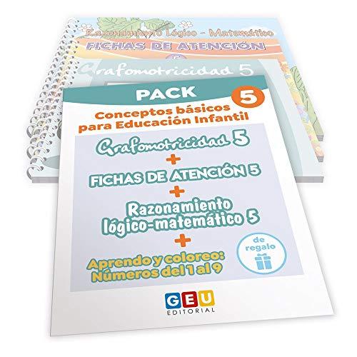 Pack Conceptos básicos Educación Infantil 5 | Editorial Geu | mejora la atención Grafomotricidad y preescritura | Desarrolla Razonamiento matemático (Niños de 3 a 5 años)