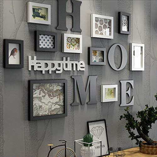LONG Bilderrahmen Collage Massivholz Kombination Wohnzimmer-Foto-Rahmen-Wand kreatives Restaurant Hintergrund Wanddekoration (Farbe : Schwarz)