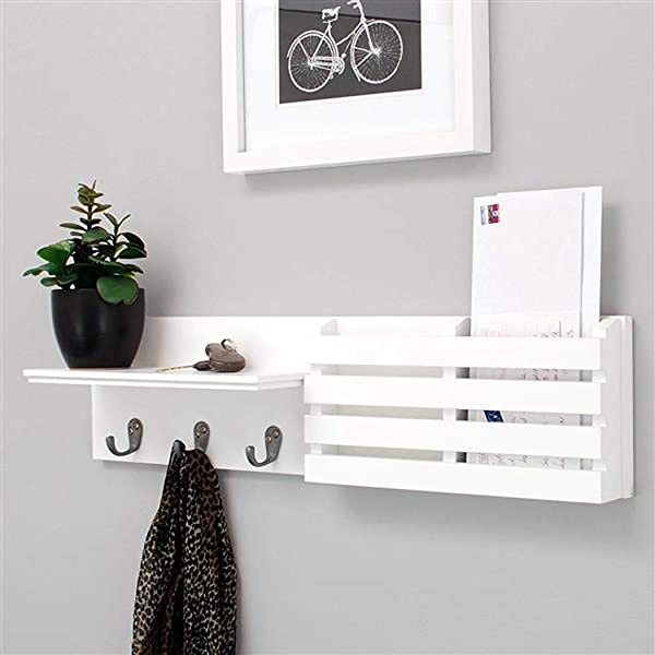 Wall Mounted Floating Shelves Key Mail Holder Organizer With 3 Key Hooks Wall Storage Shelf For Bedroom Living Room Bathroom Kitchen Office And More Carbonized White