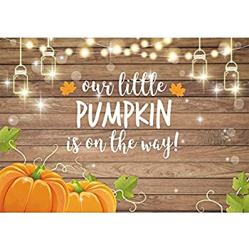 Allenjoy Soft Fabric Pumpkin Rustic Wood Baby Shower Backdrop Autumn Our Little Pumpkin Boy Girl is On The Way Welcome Party Decorations Theme Cake Table Banner 8x6ft Background Photo Booth Props