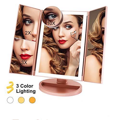 FASCINATE Espejo Maquillaje con Luz 3 Modos Iluminación Colores,72 Leds Tríptica Aumentos...
