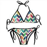 Conjunto de Bikini Rainbow Waves para Mujer, con Cordones, Trajes de baño Ajustables de Dos Piezas, Traje de baño Sexy