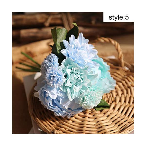Romantic Wedding Bouquets,Artificial Flowers Plants, Simulation Peony Dahlia Bouquet Silk Fake Flowers Wedding Bridal Bouquet for Home Garden Wedding Party Decoration Supplies Hand Holding Flower