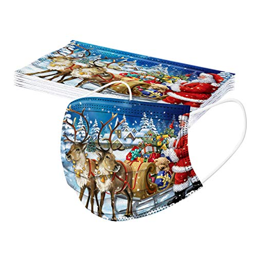 BOKAPA 10Pcs Christmas Adult Disposable Face Cloth with Nose Wire 3-Ply Comfortable Reindeer Seris Patterned 7 Colors for Men and Momen Dustproof Protection 2020 Xmas Fashion Decorations