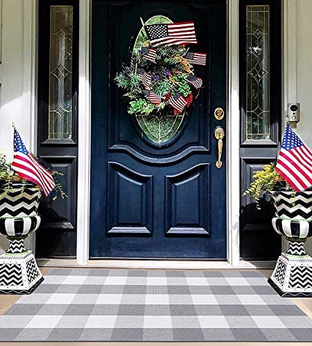 EARTHALL Buffalo Plaid Rug Outdoor Grey 27 5 x 43 Inches Cotton Hand Woven Checkered Front Door product image