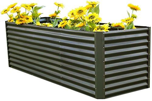 OUTFLEXX Hochbeet-Set aus Zinkalume in Anthrazit, ca. 120+80 cm, Frühbeet mit Erweiterung, großes Blumenbeet & Pflanzentrog