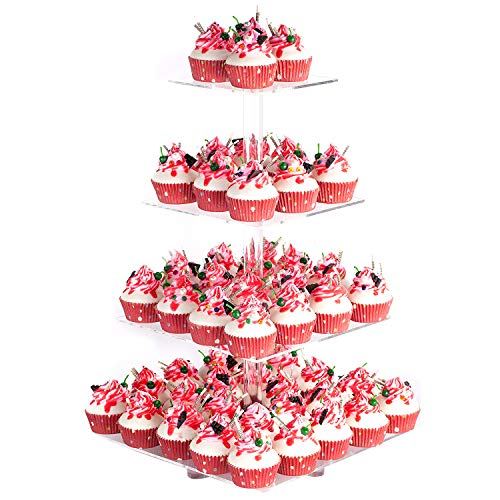 YestBuy 4 Tier Acrylic Cupcake Stand with Base, Premium Cupcake Holder, Acrylic Cupcake Tower Display Cady Bar Party Décor – Display for Pastry(4.7' Between 2 Layers)