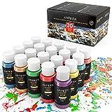 Arteza Peinture acrylique d'extérieur, lot de 20 couleurs/tubes (59 ml, 2 oz.) avec boîte de rangement, pigments riches,...