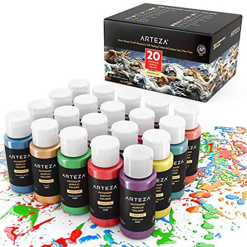 Arteza Pintura acrílica para manualidades en exteriores | Caja de 20 frascos de 59 ml | 20 colores | Pinturas acrílicas de exterior para piedra, madera, tela, cuero, papel, lienzos y pinturas murales