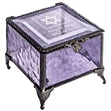 Bat Mitzvah Gifts for Girls Personalized Keepsake Engraved Jewish Star of David Purple Stained Glass Jewelry Box Trinkets J Devlin Box 836 EB250