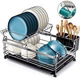 HOMEMAXS Dish Drying Rack, 【2020 Newest】 Kitchen Dish Rack and Drainboard Set, 304 Stainless Steel Dish Drainer for Kitchen Counter, Large Capacity, Unique U-shaped Design Dish Holder