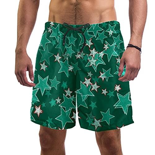 Haminaya Bañador para Hombre Estrellas Retro Verdes Trajes de Baño Secado rápido Bañadores de natación Impresión Swim Trunks Short de Playa para Piscina Surf Playa S