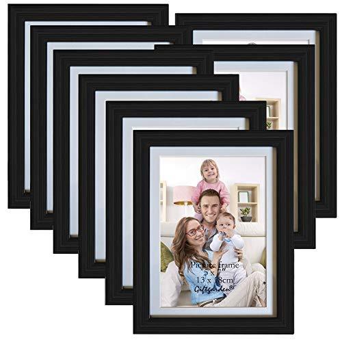 Giftgarden Cornice Multiple per Foto 13x18cm con Passepartout, 15x20cm Senza Passepartout Pacco da 8 Nero