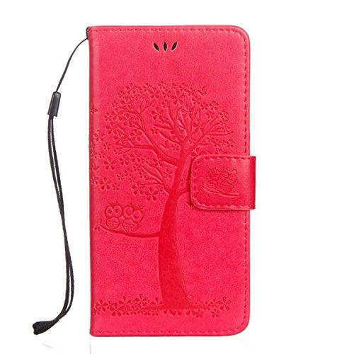 JAWSEU Kompatibel mit Wiko Lenny 3 Hülle Leder Flip Case Wallet Tasche Cover Hüllen Eule Baum Muster PU Handyhülle Brieftasche Etui Schutzhülle Handytasche Magnetisch Ständer,Rose rot