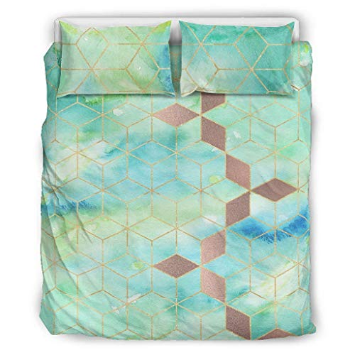 Generic Branded 3-Piece Turquoise Gradient Grid Bedspread Bedding Sets Premium Duvet Cover Modern Art Soft and Comfortable Bohemian Bedspread White 168 x 229 cm