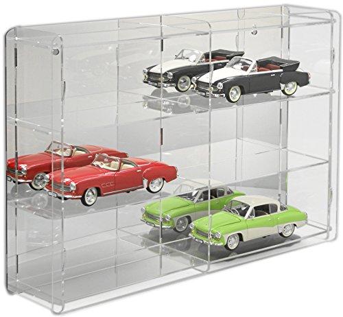 SORA Vetrina espositiva per modellini auto in scala 1:18 con pannello posteriore a specchio