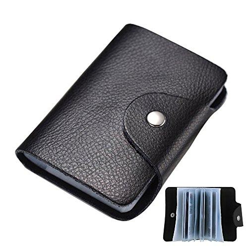 Kleine Praktische Ausweis-und Kreditkartenetui Kartenmappe Karte Geldbeutel Kreditkartenhüllen für 24 Karten (Schwarz)