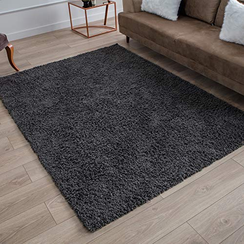 Perla Furniture Gray Shag Grey Shaggy Area Rugs 5X7