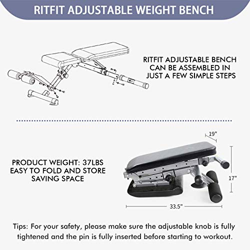 Adjustable Weight Bench With 6 Free Puzzle Mats, Flat/Incline/Decline Workout Bench for Home Gym and Travel, Fast-Folding Bench for Strength Training - [Bonus] 1 Workout Poster with 35 Full-Body Exercises