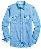 Amazon Brand - Goodthreads Men's Slim-Fit Long-Sleeve Linen and Cotton Blend Shirt, Bright Blue, Large