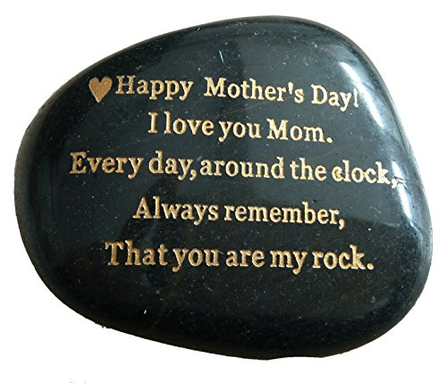 Mothers Day Gift from Daughter or SonquotHappy Mother#039s Day I love you mom Everyday Around the Clock Always remember That you are my rockquot Engraved Rock gift Rare Unique Mother Day Gifts