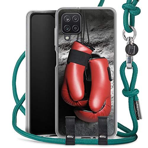 DeinDesign Carry Case kompatibel mit Samsung Galaxy A12 Hülle mit Kordel aus Stoff Handykette zum Umhängen türkis Boxen Boxhandschuhe Sport