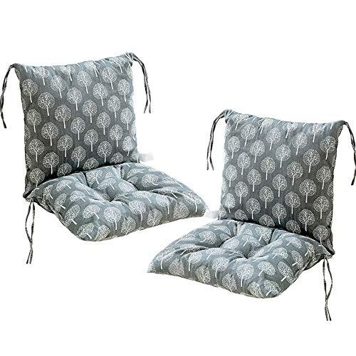 Deike Mild 2 Stück Stuhlkissen mit Rückenteil Sitz, Rückenkissen mit Bänder, Niedriglehner Auflage Polsterauflage Gartenstuhl (K,40x40cm)
