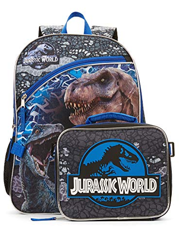 Jurassic World Backpack with Lunch Tote Set 16' School Bag Travel Backpack Full Size Zipper Compartments with Lunch Bag (SET)