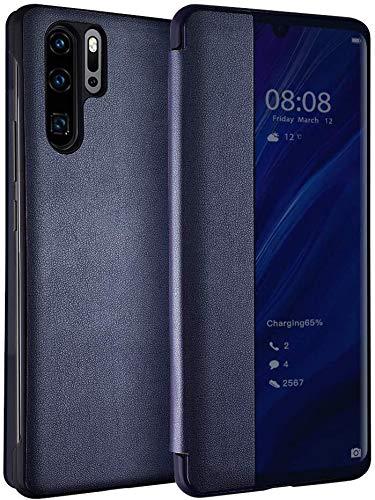 Oihxse Smart Cover para Huawei P20 PRO Smart Clear View Cover tipo libro, de piel funda protectora completa original accesorio Flip diseño delgado Case-Azul