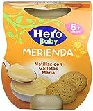 Hero Baby Merienda Puré de Natillas con Galleta para Bebés a partir de 6 meses Pack de 2 x 130 g