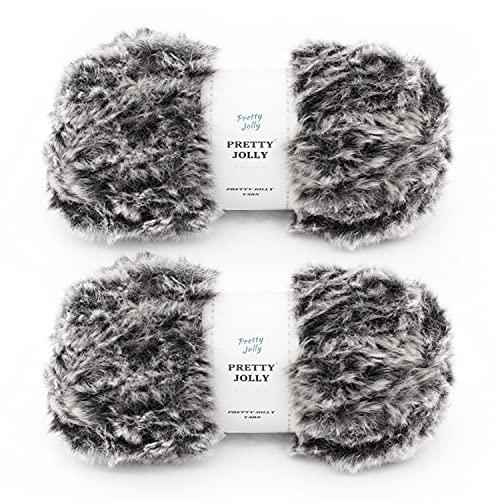 Pretty Jolly 2 bolas de lana de piel sintética súper suave y grueso hilo esponjoso para tejer ganchillo hilo de pestañas suave hilo de poliéster 2 × 32 m (2 × 35 m, 50 g × 2) – negro con blanco