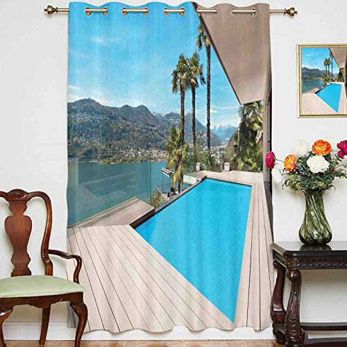 """Blackout Curtains Panels Modern House Beautiful Patio with Pool Outdoor Wooden Deck Timber Residence Room Darkening Curtain Panels for Bedroom,Single Panel,54"""" x 84"""","""
