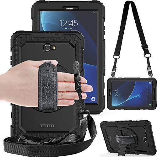 TECHGEAR UTILITY Hülle für Samsung Galaxy Tab A 10,1 zoll 2016 T580 / T585 Robust HEAVY DUTY Stoßfeste Schutzhülle mit 360 Grad Schwenkständer Hand- & Schultergurt mit eingebaut Display - Schwarz