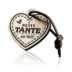Schlüsselanhänger mit Gravur aus Holz Herz - Bester Tante