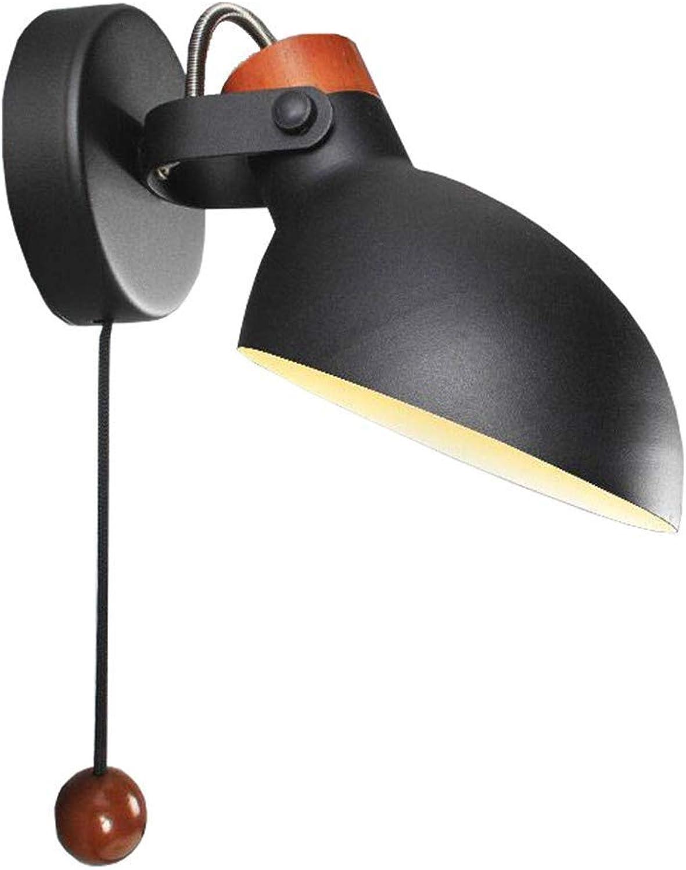 YLCJ Vintage verstellbare Wandleuchte aus Metall mit Dreh- und Schwenkfleck im Retro-Design Wandlampe mit Zugschalter Nachttischlampe für Wohnzimmer-Esszimmertisch im Landhausstil, schwarzB