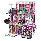 KidKraft 65922 Maison de poupée Brooklyn's Loft en bois avec meuble et accessoires inclus Ensemble de jeu à 3 étages pour poupées de 30cm