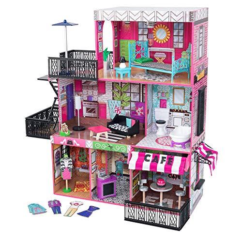 Kidkraft 65922 Brooklyn'S Loft - Casa Delle Bambole, in Legno, con Mobili e Accessori inclusi, 3 Piani, Adatta A Bambole da 30 Cm