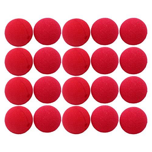 STOBOK 20 Piezas Narices de Payaso Narices de Esponja Roja Narices de Circo Cosplay Nariz de Reno Divertida para Suministros de Fiesta de Disfraces de Circo 50 Mm (Color Aleatorio)
