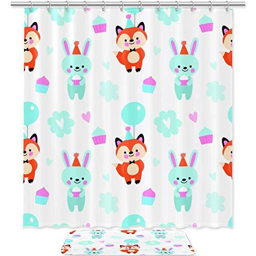 TIZORAX Fox and Rabbit hält Kuchen & Ballon Bad Duschvorhang Set mit rutschfesten Badteppichen Bodenmatte Home Decoration