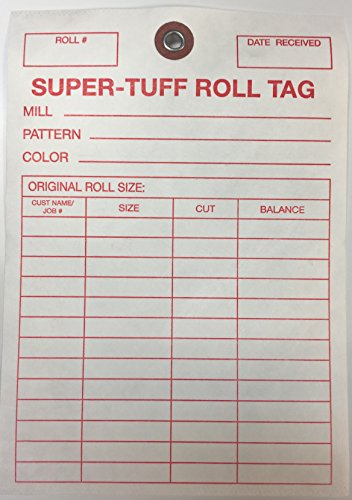 "TTUFF1 Super-Tuff Carpet Roll Inventory Tags - Tyvek Non-Rip Grommet Reinforced (Metal Ring) Sale Tags - 5"" x 7"" (100 Pack) Carpet and Flooring Store Price Cards Illinois"