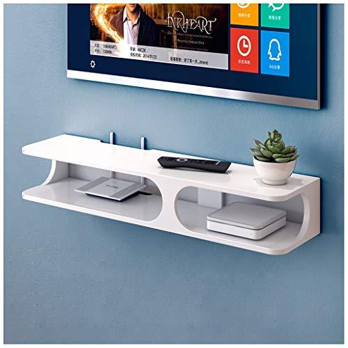 LZG Wand befestigte Regale for TV Box Set-Top-Box schwimmend, schwebend Wand-TV-Konsole, MDF-Gehäuse for Kabelboxen/WiFi Router/Remotes/DVD-Player/Spielkonsolen (Farbe : Weiß, Größe : Groß)