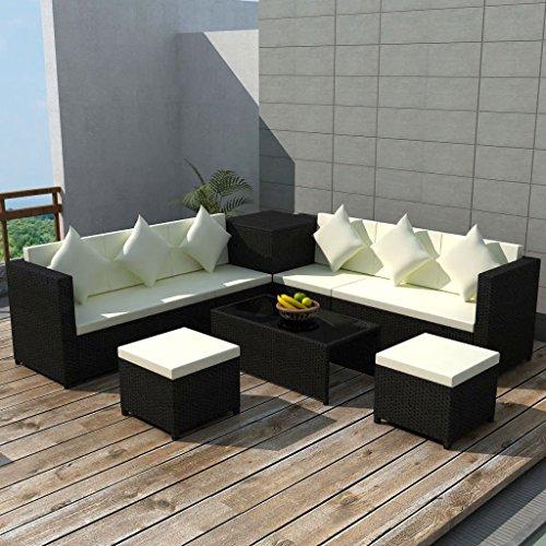 Lingjiushopping Ensemble de canapé de jardin en rotin synthétique noir 26 pièces Matériau de la structure : acier avec revêtement en poudre