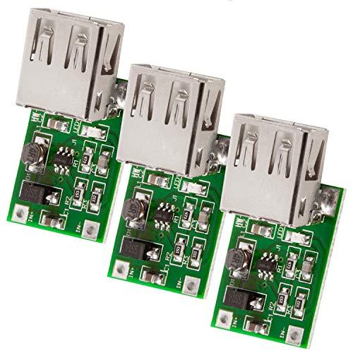 AZDelivery 3 x Convertidor DC-DC 3V a 5V Salida USB 600mA Módulo de alimentación con E-Book incluido!